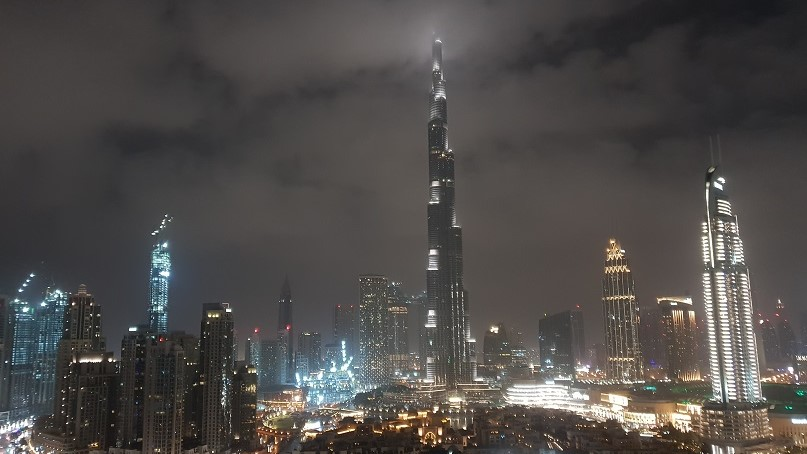 Burj Khalifa in Dubai by night