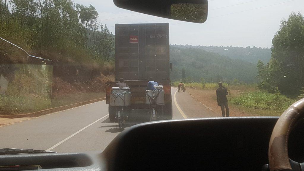 Fietsers in Rwanda