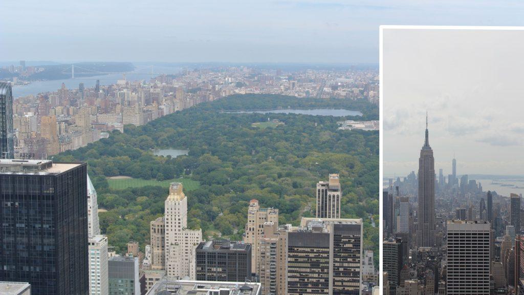 Uitzicht op Central Park en Empire State Building vanaf het observation platform van Rockefeller Center, New York, Verenigde Staten