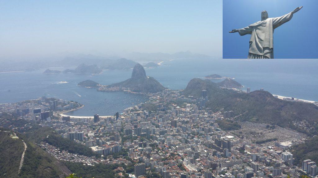 Uitzicht vanaf 1 van de 7 nieuwe wereldwonderen, Cristo Redentor, Rio de Janeiro, Brazilië