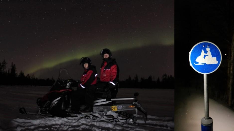 Sneeuwscooter & noorderlicht in Fins lapland