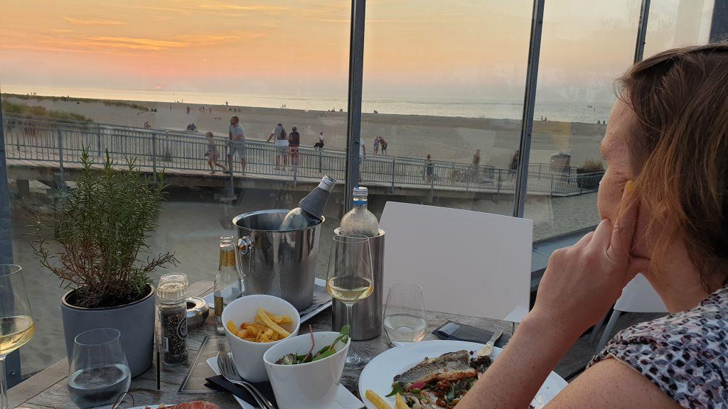 zonsondergang, strand Renesse, Zeeland