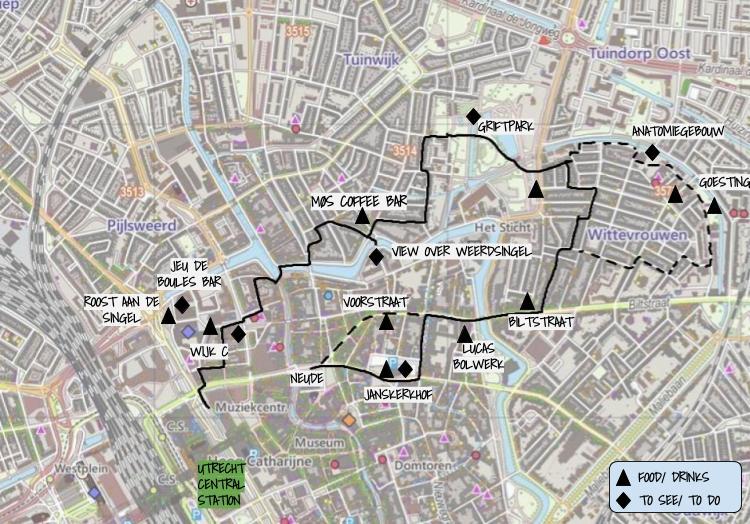 Walk map Vogelenbuurt & Wittevrouwen